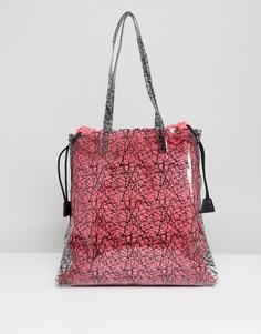 Прозрачная сумка-шоппер с принтом и клатчем из парусины ASOS DESIGN - Розовый