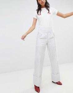 Широкие брюки в полоску с отворотами Lost Ink - Серый