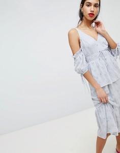 Платье миди с вышивкой и пышными рукавами Lost Ink - Серый