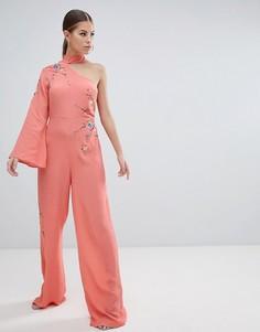 Комбинезон на одно плечо с вышивкой ASOS DESIGN - Розовый