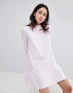 Платье в клетку с заниженной талией Mads Norgaard - Розовый