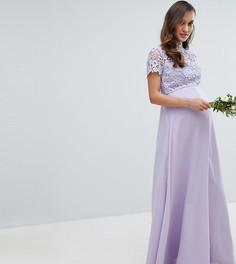 Платье 2 в 1 с кружевным топом и воротником-стойкой Chi Chi London Maternity - Серый