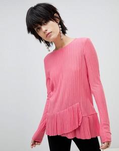Лонгслив с оборками Pieces - Розовый