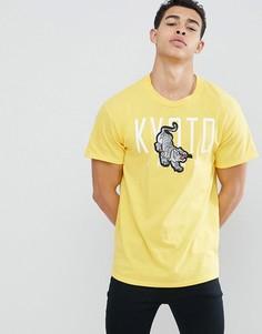 Желтая футболка с вышитым тигром boohooMAN - Желтый