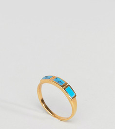 Позолоченное серебряное кольцо с камнем ASOS DESIGN - Золотой