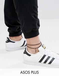 Кожаный браслет на ногу ASOS DESIGN Plus - Черный