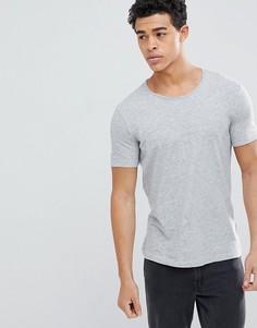 Меланжевая футболка с круглым вырезом и необработанным краем United Colors of Benetton - Серый