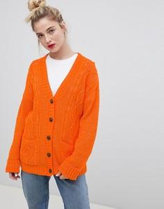 Кардиган бойфренда с узором косичка Daisy Street - Оранжевый
