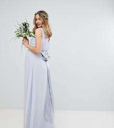 Платье макси с бантом сзади TFNC Maternity - Серый
