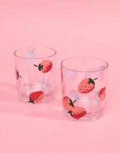 Набор стаканов с клубничным принтом Kate Spade - Мульти