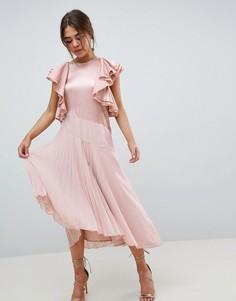 Платье миди с плиссировкой и оборками на рукавах ASOS DESIGN - Мульти