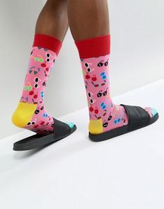 Розовые носки с принтом Happy Socks - Розовый