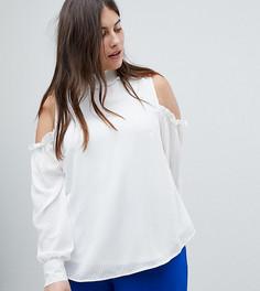 Блузка с вырезами на плечах, высоким воротом и объемными рукавами Fashion Union Plus - Белый