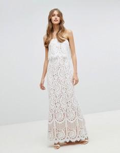 Кружевное платье-бандо макси Jarlo - Белый