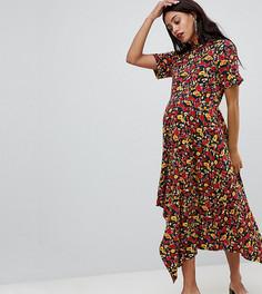 Чайное платье с асимметричным краем и цветочным принтом ASOS DESIGN Maternity - Мульти