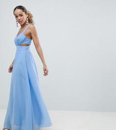 Платье макси на бретельках с разрезами ASOS DESIGN Petite - Синий