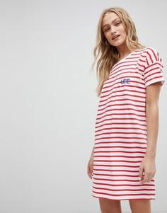 Платье-футболка в полоску с логотипом Lee - Красный