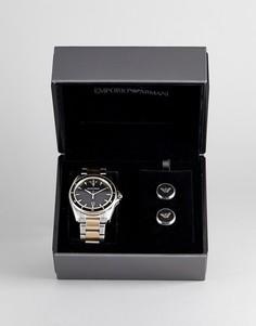 Подарочный набор с наручными часами и запонками Emporio Armani AR80017 - Серебряный