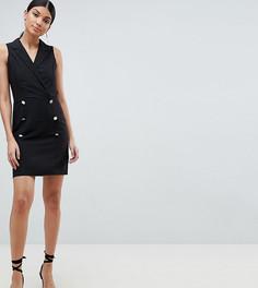Платье мини без рукавов в стиле смокинга ASOS DESIGN Tall - Черный