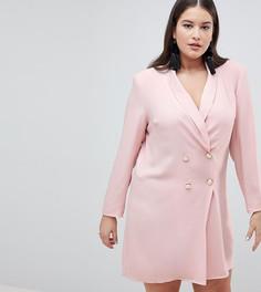 Платье-блейзер мини с пуговицами под жемчуг ASOS CURVE ULTIMATE - Розовый