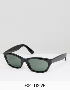 Черные квадратные солнцезащитные очки Reclaimed Vintage Inspired эксклюзивно для ASOS - Черный