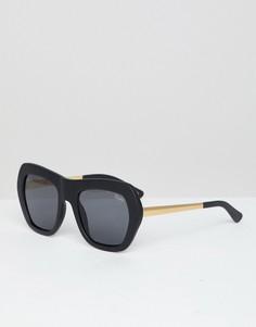Черные круглые солнцезащитные очки Quay Australia - Черный