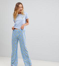 Пижамный комплект в полоску Hey Peachy Banana Drama - Синий
