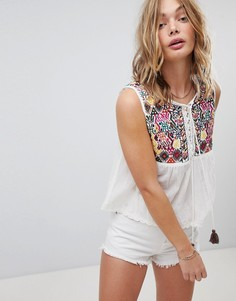 Блузка с вышитым ацтекским узором Free People - Белый