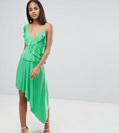 Асимметричное платье миди с оборками ASOS DESIGN Tall - Зеленый