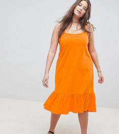 Сарафан миди с квадратным вырезом и удлиненной спиной ASOS DESIGN Curve - Оранжевый
