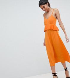 Облегающий сарафан миди с оборкой ASOS DESIGN Tall - Оранжевый