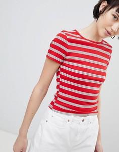 Полосатая футболка в рубчик New Look - Красный