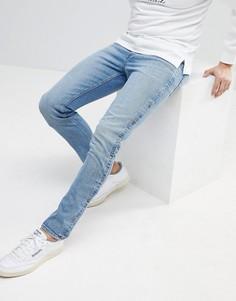 Выбеленные синие джинсы скинни с кнопками ASOS - Синий