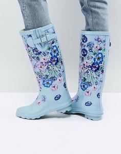 Резиновые сапоги с цветочным принтом ASOS GARDEN - Синий