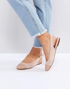 Туфли на плоской подошве с блестящим носком Office - Розовый