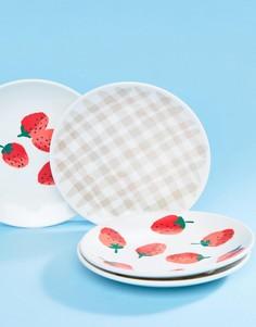 Набор из 4 акриловых тарелок с принтом Kate Spade - Мульти