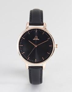 Часы с розово-золотистым корпусом и черным кожаным ремешком ASOS DESIGN - Черный