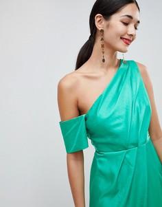 Платье макси на одно плечо из атласа ASOS DESIGN - Зеленый