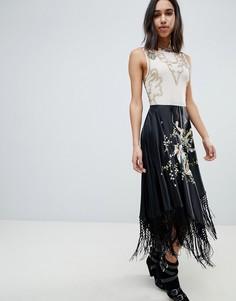 Платье миди с вышивкой и бахромой ASOS EDITION - Мульти