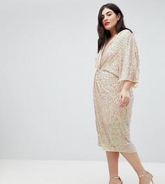 Платье миди в стиле кимоно с пайетками ASOS DESIGN Curve - Розовый