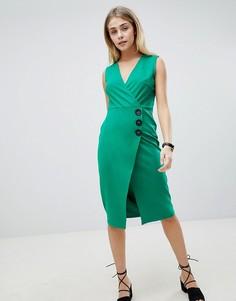 Платье с запахом, V-образным вырезом и пуговицами ASOS DESIGN - Зеленый