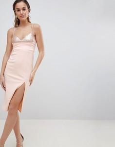 Облегающее платье миди с пайетками ASOS DESIGN - Розовый