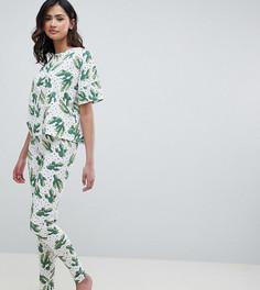 Комплект из футболки и штанов в горошек с принтом кактусов ASOS DESIGN Tall - Мульти