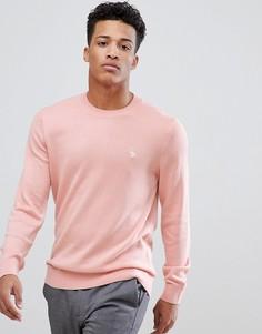Светло-розовый свитшот с круглым вырезом и логотипом Abercrombie & Fitch - Розовый