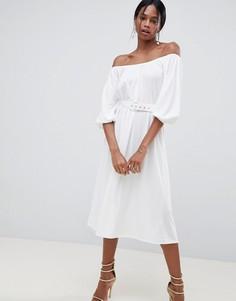 Платье миди с открытыми плечами и поясом ASOS DESIGN - Белый