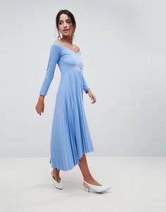 Платье миди с плиссировкой и открытыми плечами ASOS DESIGN - Мульти