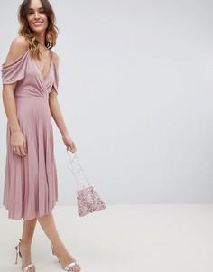Плиссированное платье миди с открытыми плечами ASOS DESIGN - Розовый
