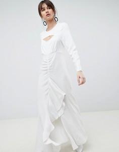 Платье макси с оборками и решетчатым принтом ASOS WHITE - Белый