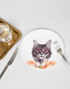 Тарелка с принтом кота Mustard - Мульти