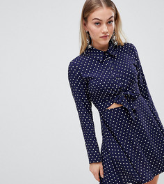 Платье мини в горошек с поясом ASOS DESIGN Petite - Мульти